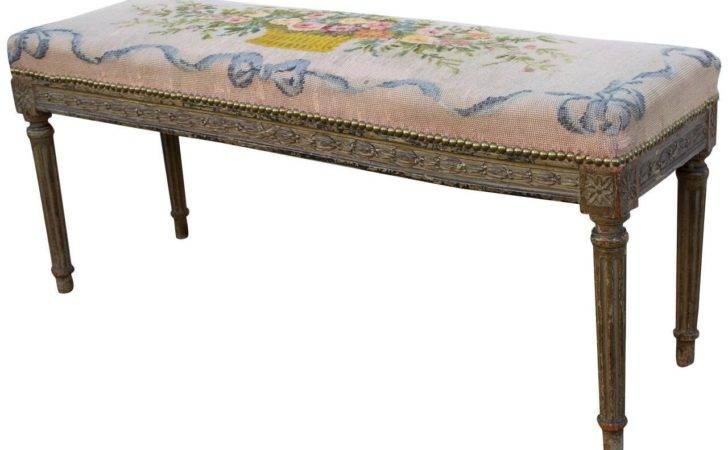French Needlepoint Covered Louis Xvi Style Bench Stdibs