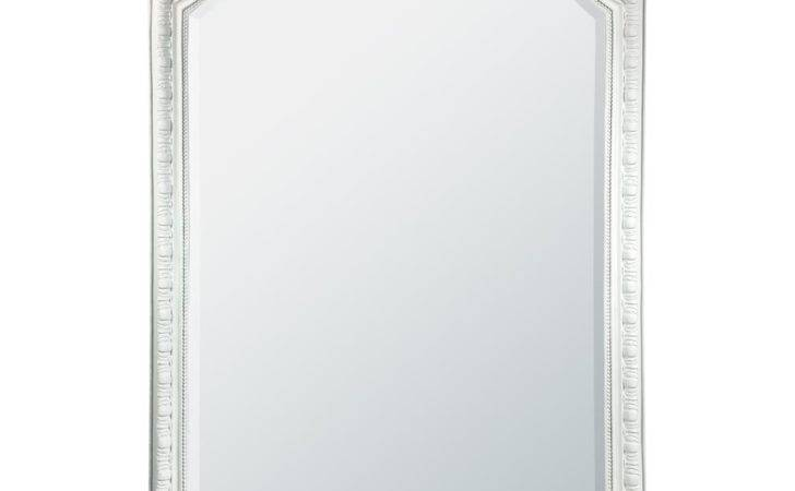 French Rococo White Bevelled Mirror