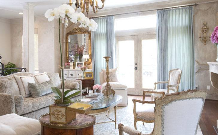 French Townhome Traditional Living Room Houston