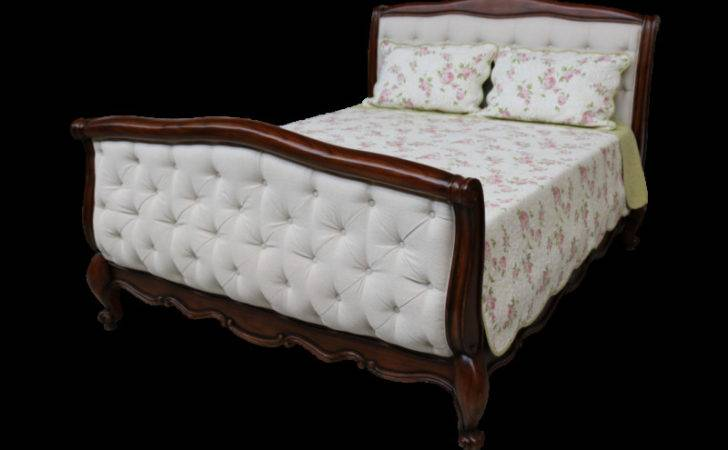 French Upholstered Deep Buttoned Sleigh Bed Queen
