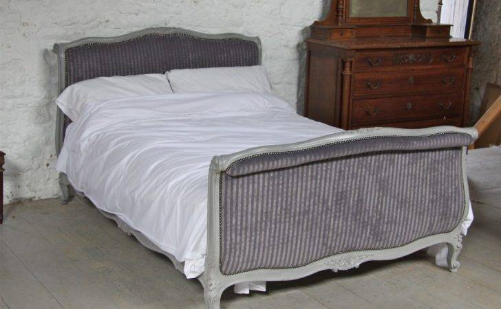 Fully Restored French Upholstered Double Sleigh Bed
