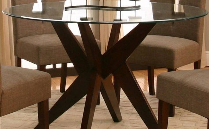 Furniture Astounding Round Glass Table Wooden Legs