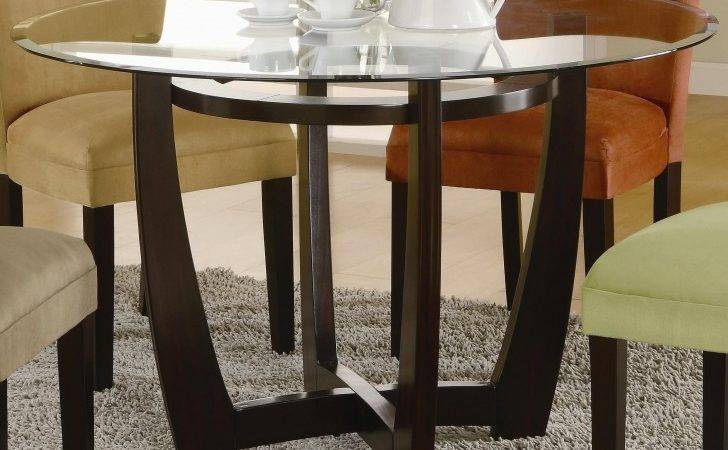 Furniture Chic Round Glass Table Wooden Legs Offers