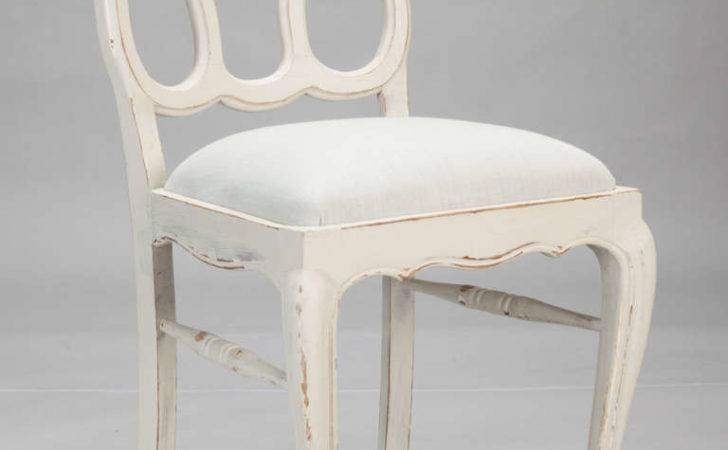 Furniture Set Eight French White Painted Open Back