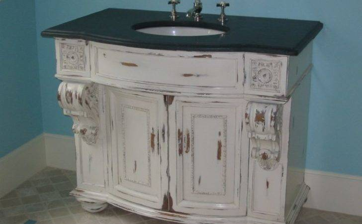 Furniture Shabby White Painted Mahogany Bathroom Cabinet