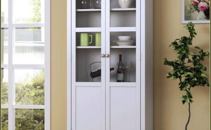 Furniture White Stained Wood Standing Kitchen Pantry