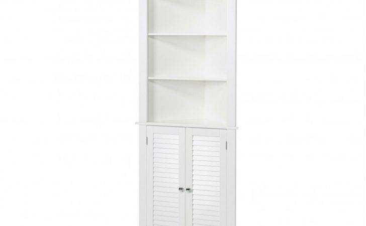 Furniture White Wooden Curved Corner Cabinet Glass