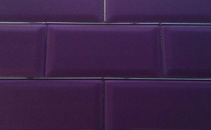 Fused Glass Bevel Wall Tile Metallic Purple