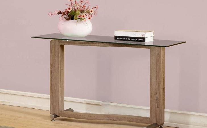 Garvey Wood Effect Glass Console Table Mysmallspace