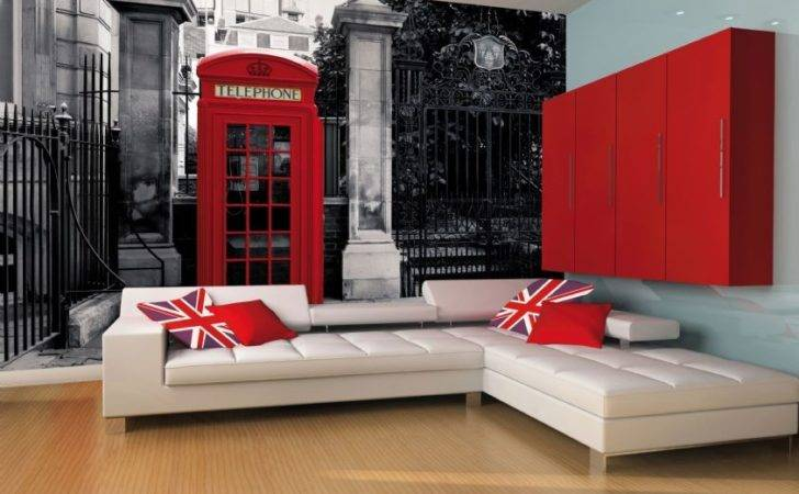 Giant Wall Mural London Telephone Box Vintage