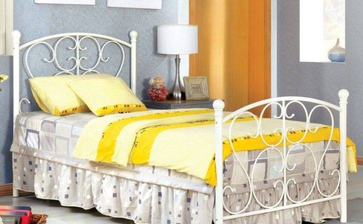 Girls Twin Bed Frame Princess Style White Metal Furniture