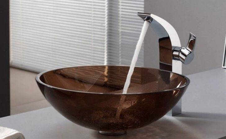 Glass Counter Top Wash Basin Round Clear Brown Bathroom