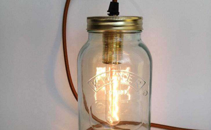 Glass Jam Jar Lamp Gold Fabric Cord Nuvarti Etsy