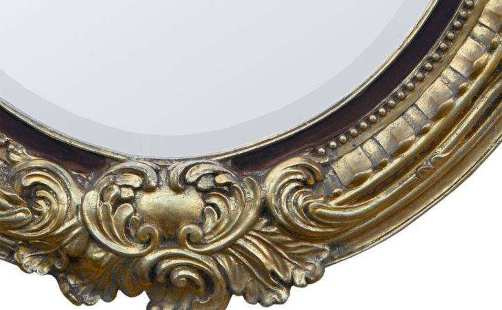 Gold Gilt Leaf Brown Oval Bevelled Mirror French