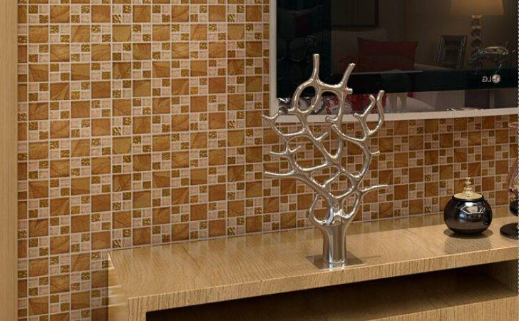 Gold Tile Backsplash Ideas Bathroom Crystal Glass Mosaic