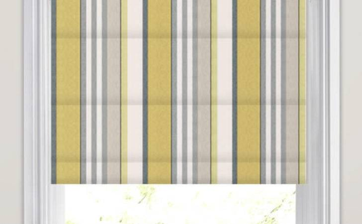 Golden Yellow Lime Grey Taupe White Striped Roman Blinds
