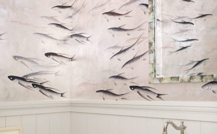 Gournay Fishes Transitional Bathroom
