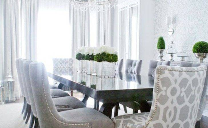 Gray Dining Chairs Transitional Room Lux Decor