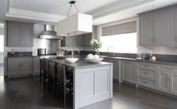 Gray Washed Kitchen Cabinets Transitional