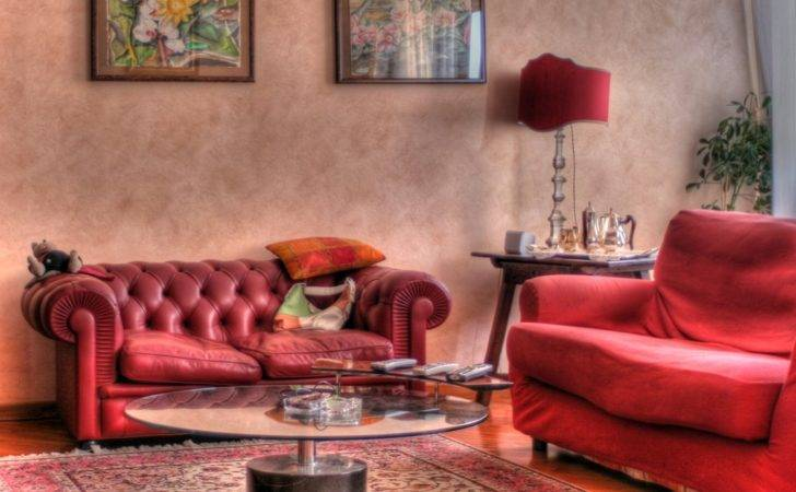 Great Art Decoration Beautiful Red Living Room Design