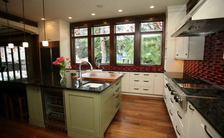 Green Kitchen Cabinets White Countertops Home