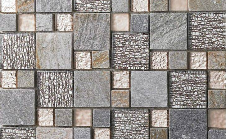 Grey Glass Mosaic Tile Natural Stone Tiles Marble