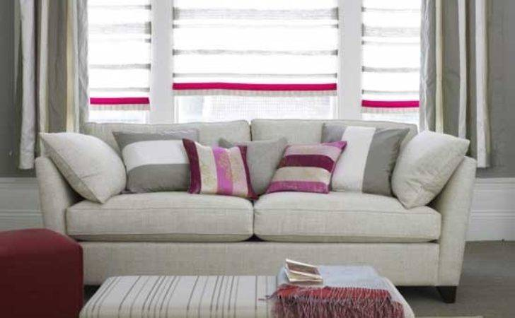 Grey Pink Striped Living Room Furniture