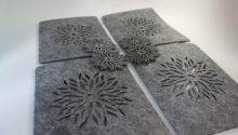 Grey Placemats Coaster Flames Aster Flower Felt Table