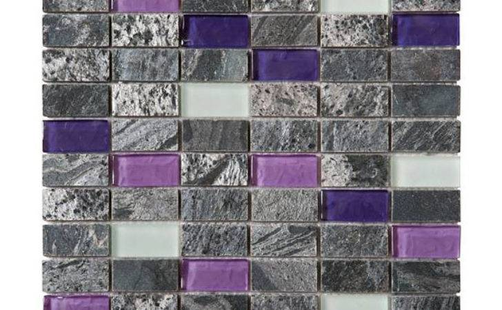 Grey Purple White Glass Quartzite Brick Mosaic Tile