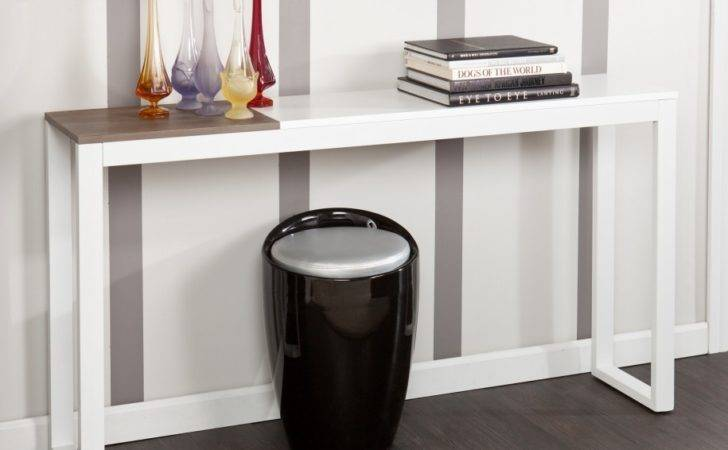Hallway Furniture Modern White Narrow Console Tables