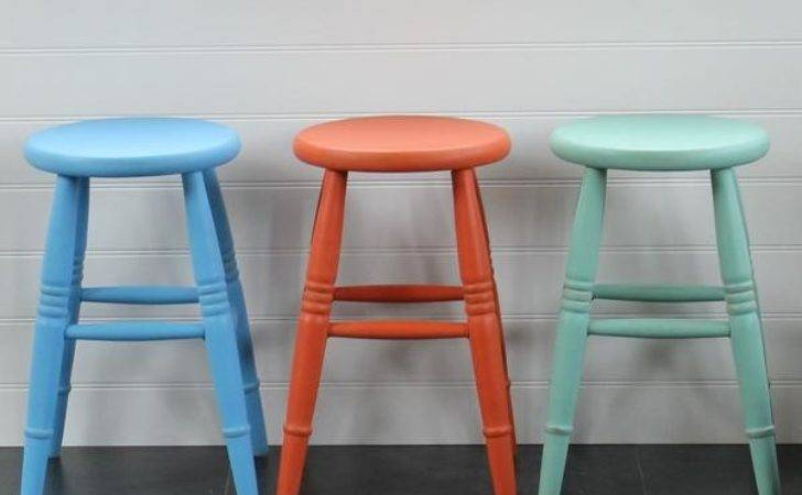 Hand Painted Low Level Kitchen Stools
