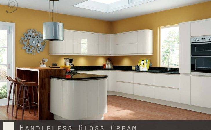 Handleless Kitchen Doors High Gloss Cream