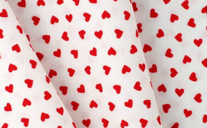 Heart Print Fabric Half Meter Baby Safe Cotton Red