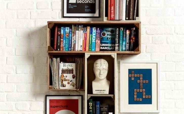 Home Office Display Ideas Wall Mounted Rustic Shelving
