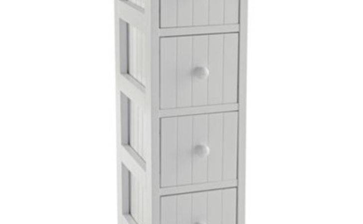 Home Tongue Groove Drawer Storage Unit White