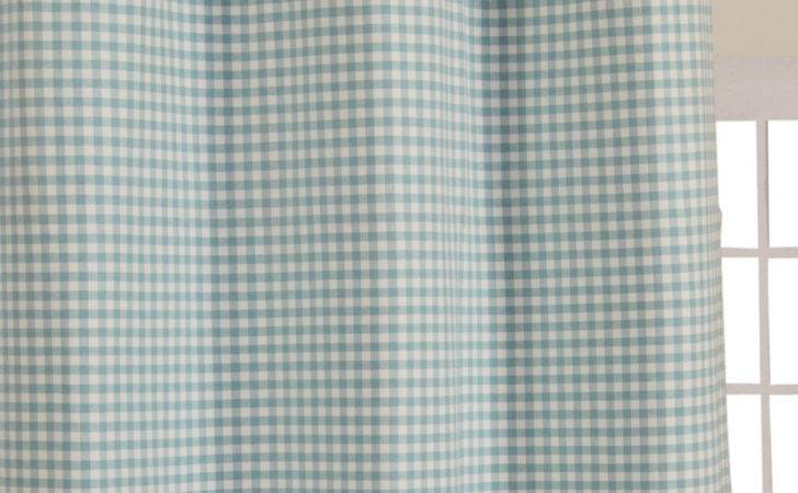 Homescapes Cotton Gingham Check Blue Ready Made Eyelet