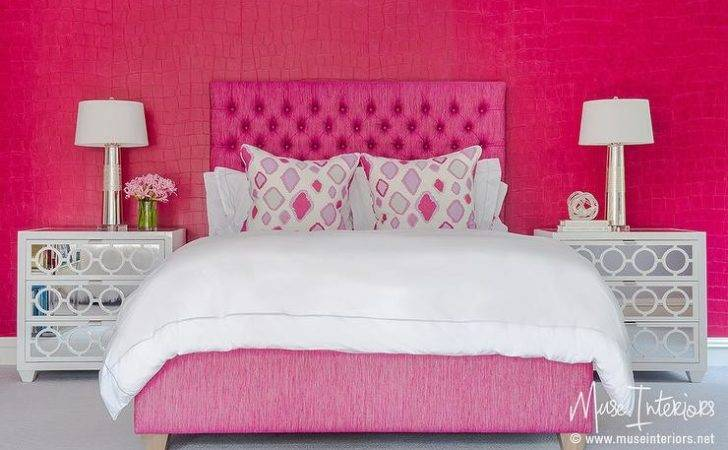 Hot Pink Girl Bedroom White Mirrored Nightstands