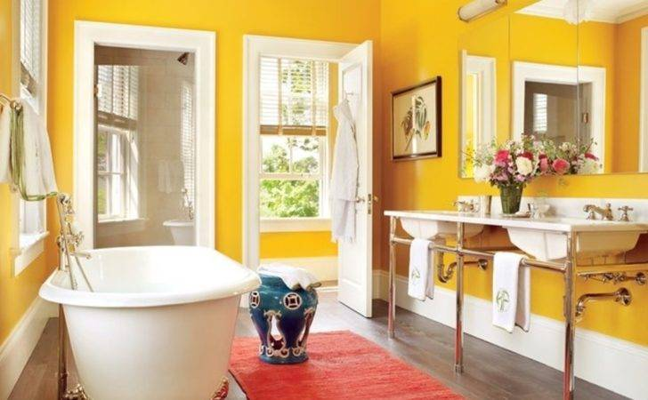 Hot Yellow Wall Color Red Rug Classic Tub