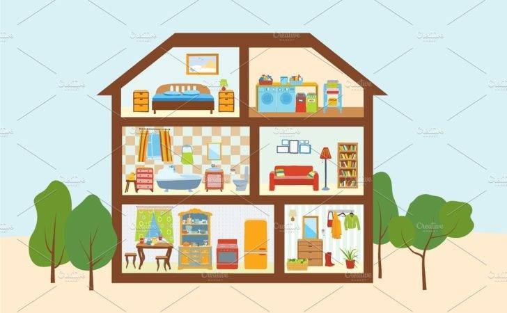 House Cut Interiors Rooms Illustrations