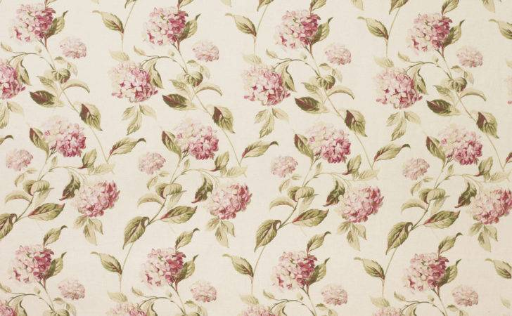 Hydrangea Pink Natural Cotton Rich Curtain Fabric Laura