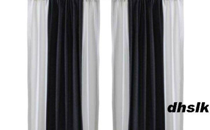 Ikea Hedda Rand Drapes Curtains Bold Stripe Black White