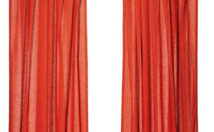 Ikea Natvide Pair Curtains Panels Hidden Tabs Red