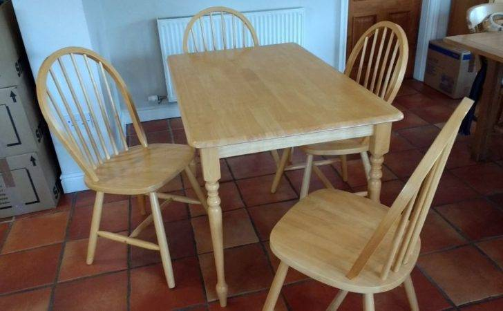 Ikea Solid Pine Kitchen Dining Table Chairs Set Ebay
