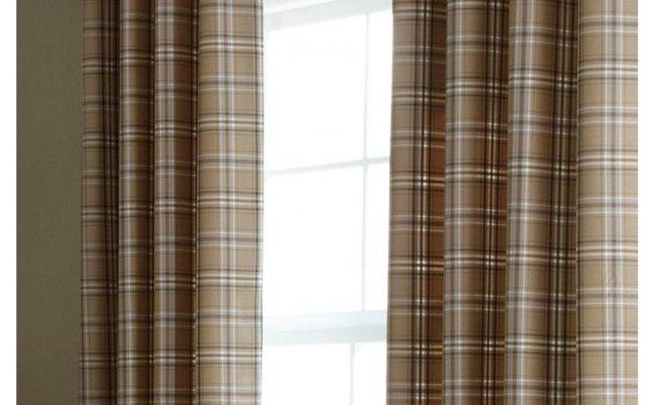 Iliv Cerato Charcoal Tartan Check Lined Eyelet Curtains