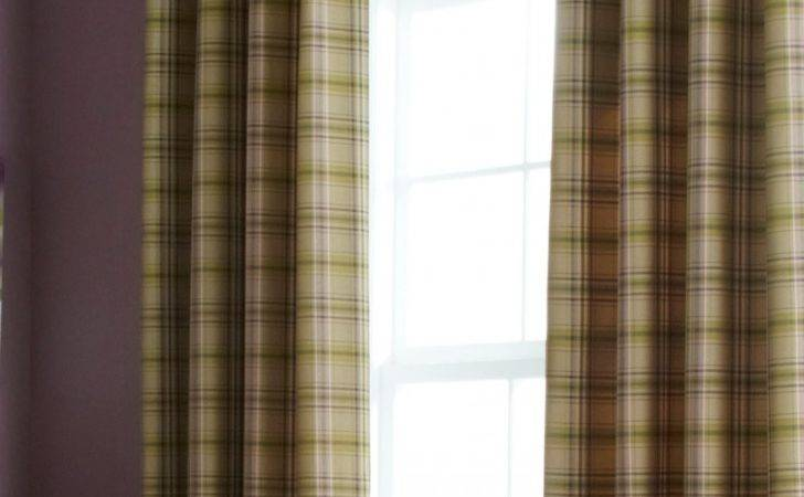 Iliv Cerato Fern Tartan Check Lined Eyelet Curtains