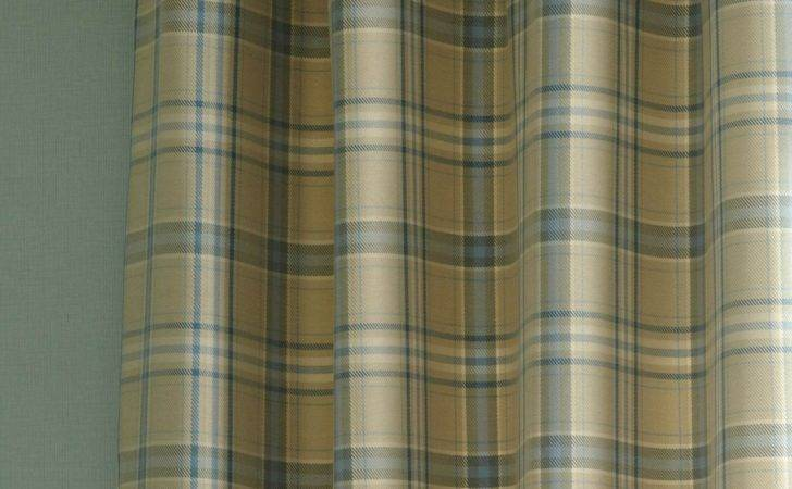 Iliv Piazza Cerato Tartan Check Eyelet Curtains Azure Blue