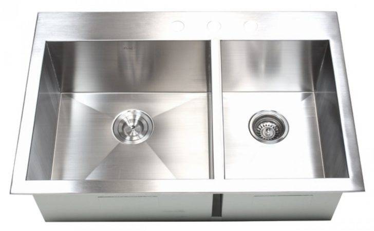 Inch Top Mount Drop Stainless Steel Double