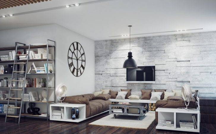 Industrial Style Living Room Interior Design Ideas