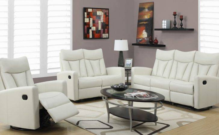 Ivory Bonded Leather Reclining Living Room Set
