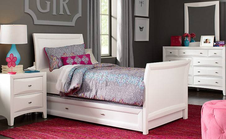 Ivy League White Twin Sleigh Bedroom Teen